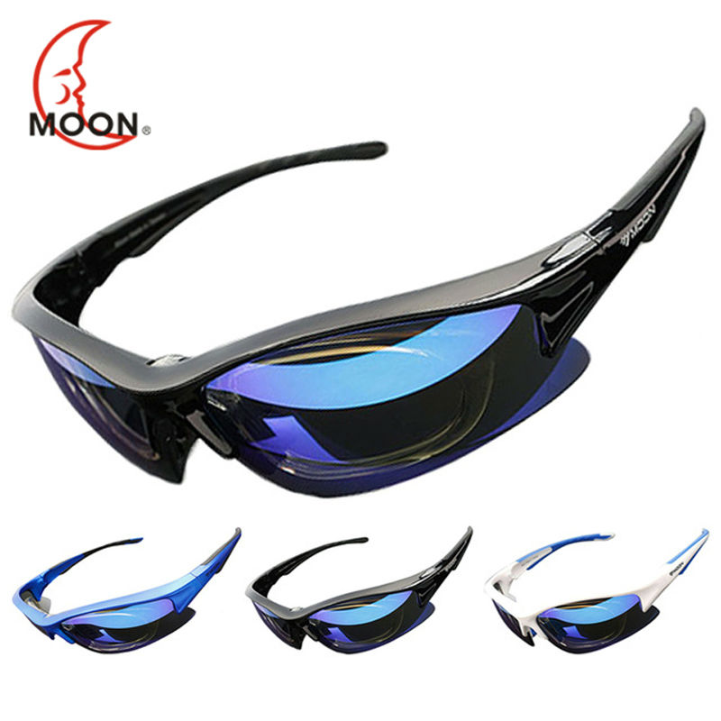 MOON Polarized Cycling Sunglasses Outdoor Sports Bicycle Glasses Bike Cycling Eyewear Goggles Sun Glassese 5 Lens 3 Colors polarsnow top quality polarized sunglasses men polaroid outdoor fishing sports sun glasses oculos de sol masculino goggle shades