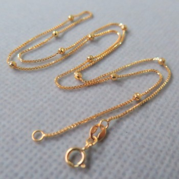 Real Au750 18k Yellow Gold Chain Luck 2.4mmW Box & Beads Link Necklace 16.5 1