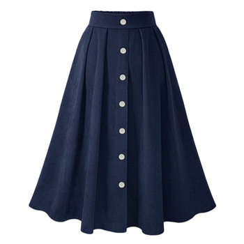 Women Pleated Skirts Button High Waist Elastic Mid Skirt Korean Style Female Skirts Fashion Spring Autumn Winter Bottom Skirts