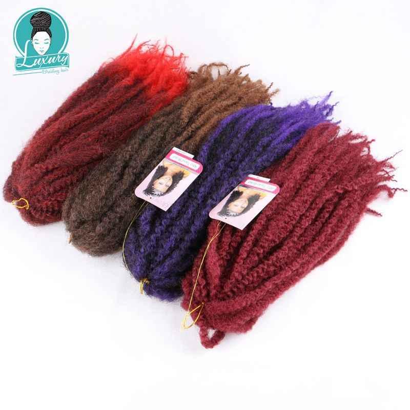 """Роскошный для плетения волос 18 """"100 г фиолетовый коричневый серый бордовый кроше с Омбре оплетка африканские в мелкий завиток Омбре марли косы"""