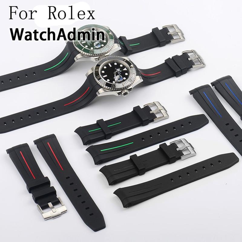 ФОТО Luxury Brand Original 20MM Black Rubber Strap For DAYTONA SUBMARINER GMT Explorer Replace Role Watchband Bracelet