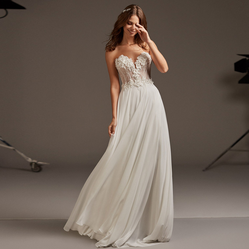 Vestidos De Novia 2019 New Design Chapel Train Wedding Dress Elegant Strapless Custom Made Sleeveless Bridal Gown