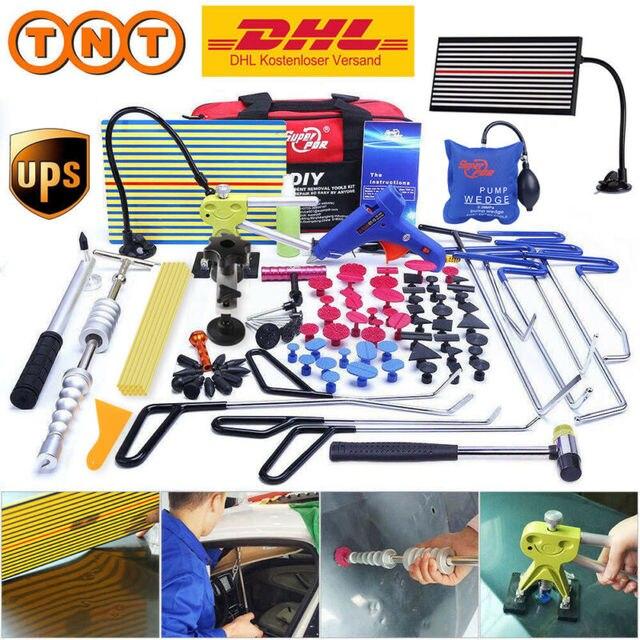 PDR Tools Hook Tools Push Rod Car Crowbar Paintless Dent Repair Tools Kits Glue Sticks Tap Down Hammer Hail Puller Set pry tools