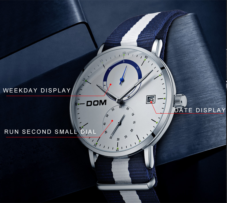c8e85e18ecb DOM Homens de Relógios de Luxo Da Marca Multi Função Do Esporte Dos Homens  Relógio de Quartzo cinto de Nylon À Prova D  Água Negócio Relógio Relógio de  ...