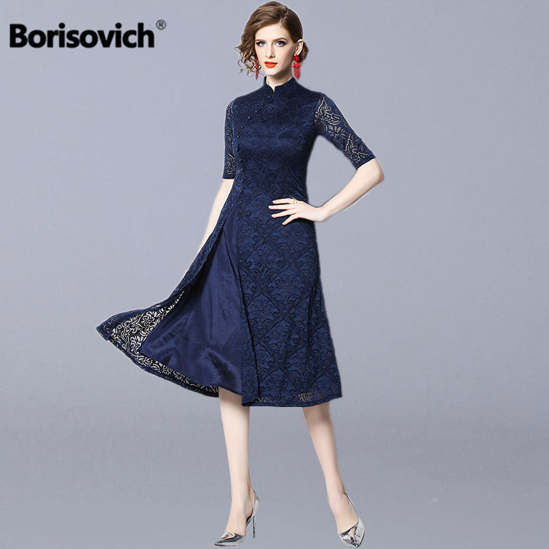 Borisovich Women Lace Long Dress New 2019 Spring Vintage China Style Mandarin Collar Elegant A line