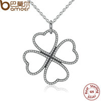 BAMOER 2016 Summer New 925 Sterling Silver Petals Of Love Clear CZ Clover Necklace Pendant For