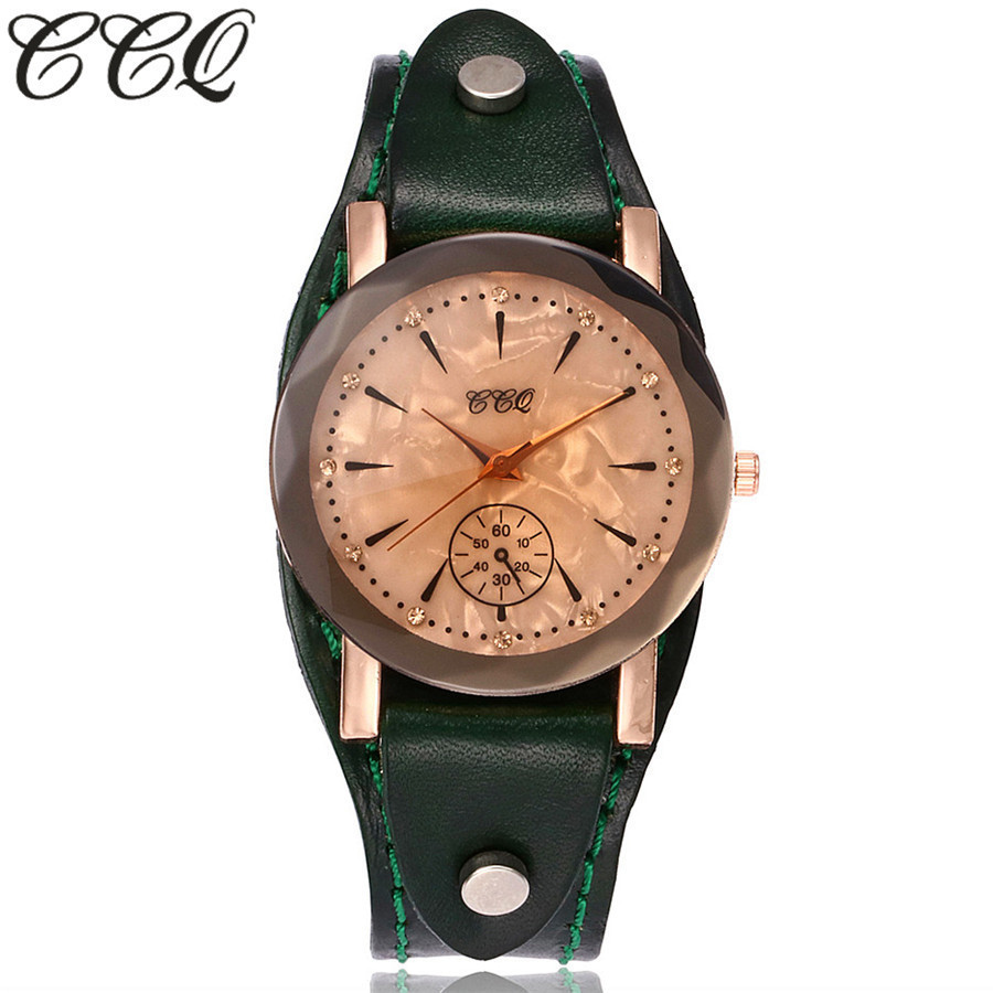 CCQ Brand Vintage Cow Leather Bracelet Watch Casual Simple Unisex Women Men Leather Quartz Wristwatches Clock Gift Montre Femme xiniu retro wood grain leather quartz watch women men dress wristwatches unisex clock retro relogios femininos chriamas gift 01