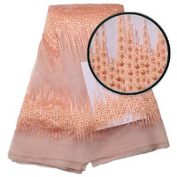 Latest gold 3d lace fabric with beads embroidered alibaba express nigerian lace fabric 2018 high quality lace AMY1205 1