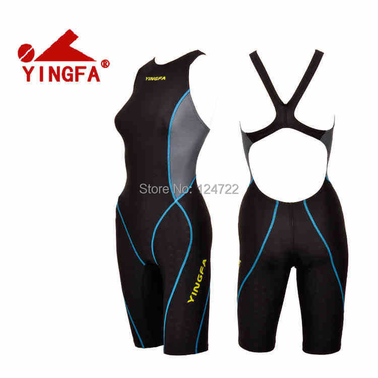 Yingfa brand! Professional one piece Women Swimsuit Competition Racing knee Swimwear full body bathing suit pink & blue color - Taurus Sport Goods Limited store