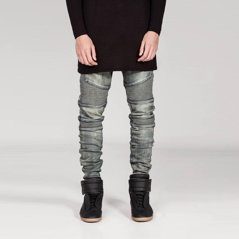 2018 Nuovi Uomini Di Marca Famosa Etero Slim Fit Jeans Biker Pant Pantaloni In Denim Uomo Denim Uomini Jean Blu Nero Grigio Pantaloni Scarni Lieve E Dolce