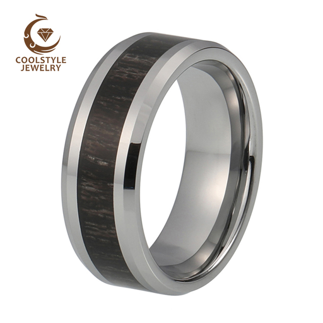 Natural 8mm Men S Womens Tungsten Carbide Ring Black Wood Inlay Wedding Band Fashion Finger Size