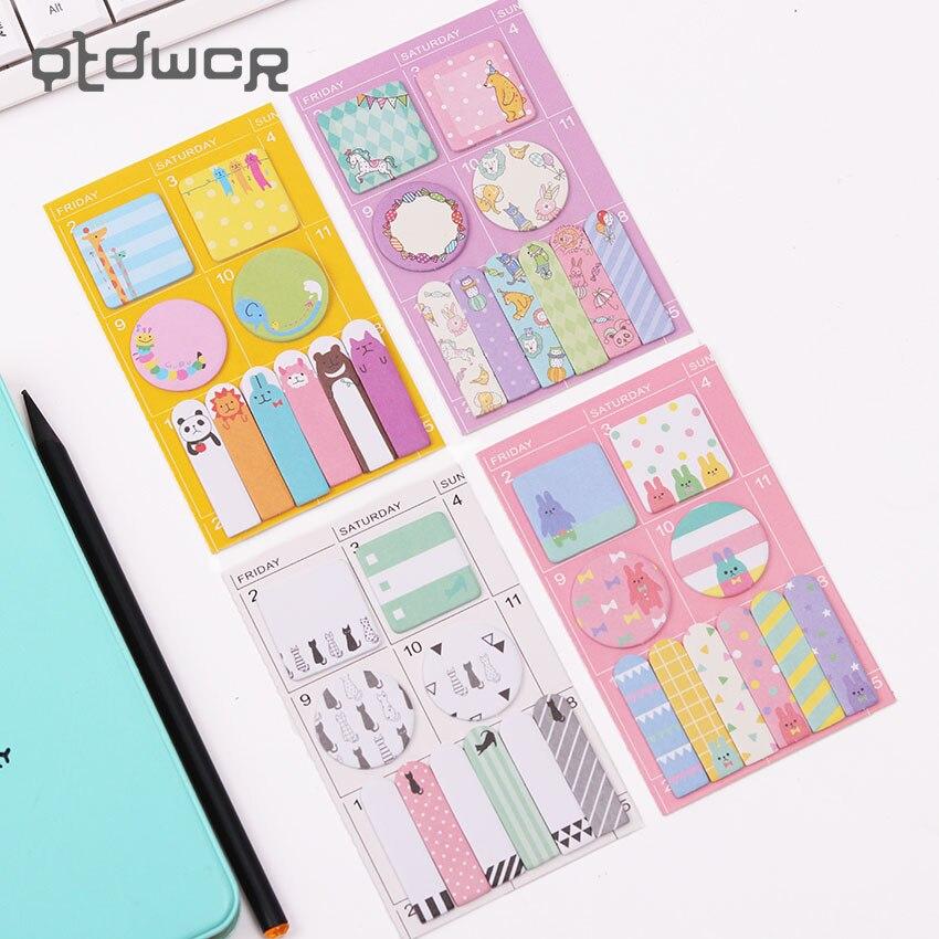 2PCS Candy Colors Kawaii Panda Memo Pad Paper Stickers Cartoon Post It Notes for Kids Gift Korean Stationery