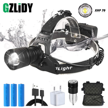 Powerful  XHP70 LED Headlamp Waterproof Headlight Support zoom 3 switch modes Powered by 3 x 18650 batteries for hunting,fishing стоимость