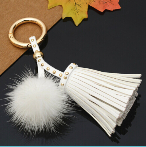New Real Mink Fur Ball 4cm Pompom Keychain Car Keyring Leather Tassel Keychain Fur Brand Pompons Bag Charms With Chains Keyring cute fox bobbles fur ball rhinestone keychain bag car ring keyring