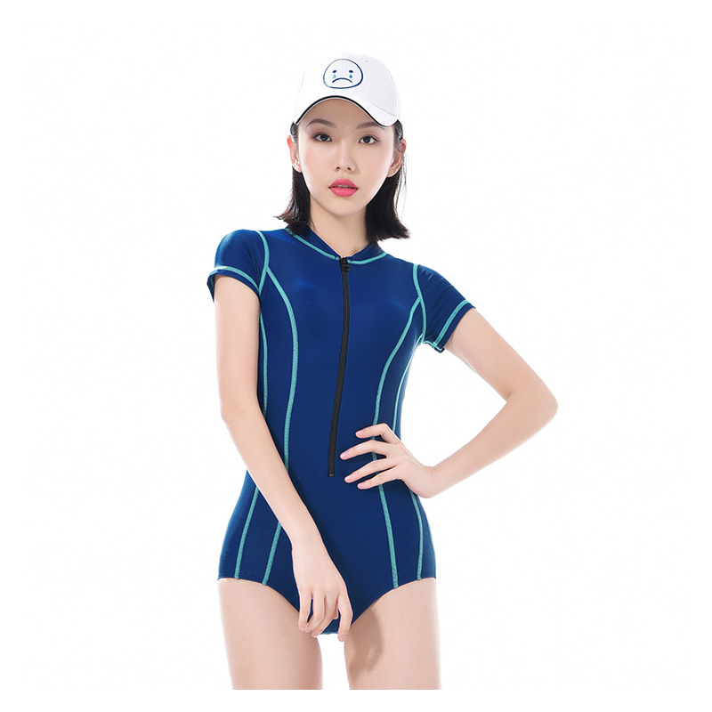 BANFEI Short Sleeve Sexy One Piece Swimwear Women Swimsuit For Girls Swim Wear Women's Swimsuits Swimming Suit For Women Bathing competition swimsuits girls professional swim patchwork swimsuit female swimwear open back high cut women swimming racing suit