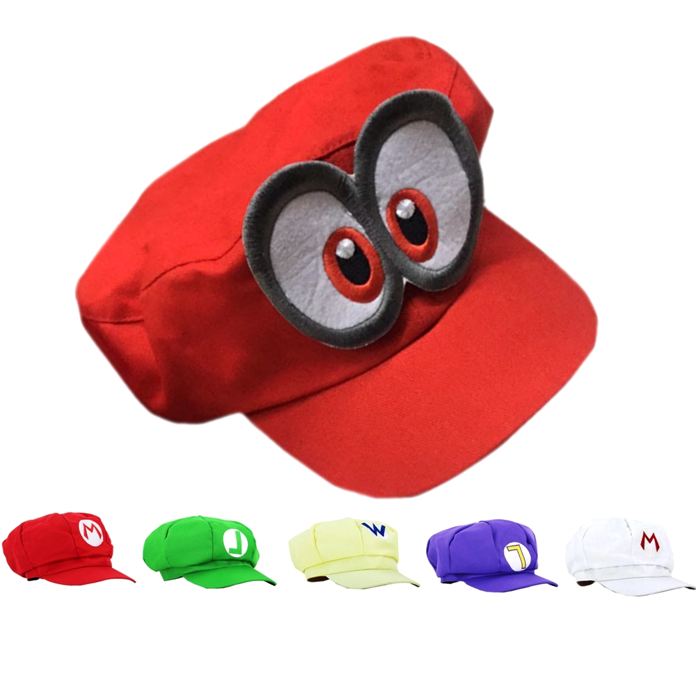 Adult Kids Super Mario Odyssey Cosplay Anime Super Mario Hat Cap Luigi Bros Cosplay Baseball Costume Toys Gift Adjustable Hat