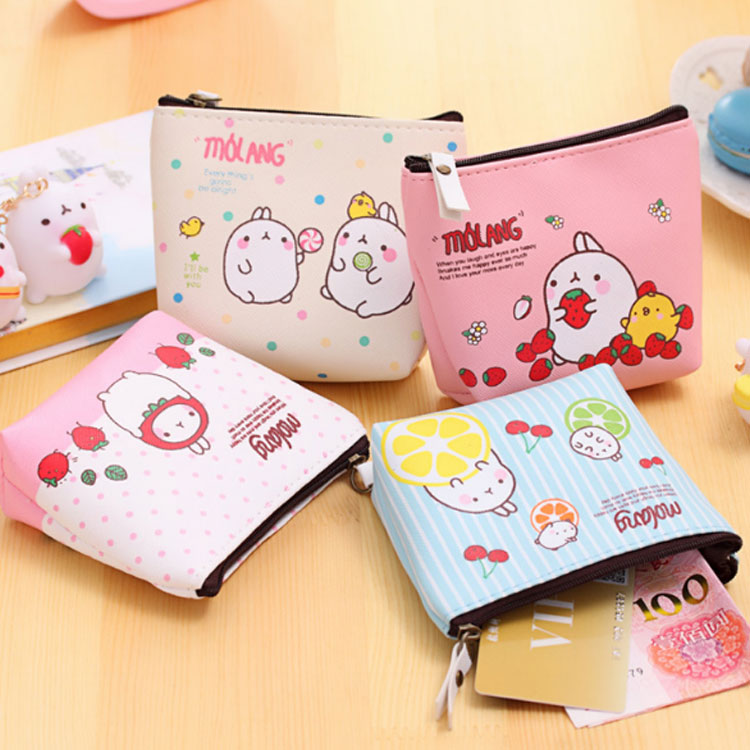 XYDYY Kawaii Cartoon Fruit Rabbit Printing Women Children PU Leather Coin Purse Portable Zip Pouch Mini Wallet Handbag for Gift xydyy 2017 new women coin purses or handbags cute cartoon pu leather mini pouch kawaii children wallet small bag for keys