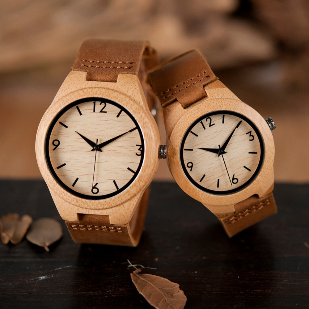 BOBO BIRD Men Couple Watch Women Wooden Men's Watches Quartz Male Bamboo Relogio Feminino Erkek Kol Saati In Gifts Box