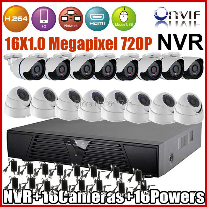 Big Promotion! ONVIF 16CH H.264 Network NVR Kits 720P Resolution Indoor dome + Outdoor waterproof  IP Camera CCTV System