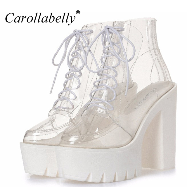 Dày gót nền tảng phụ nữ mùa thu khởi động minh bạch mắt cá chân khởi động phụ nữ ren lên nền tảng cao gót giày phụ nữ giày