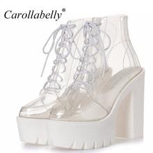 thick heels platform women autumn boots transparent ankle