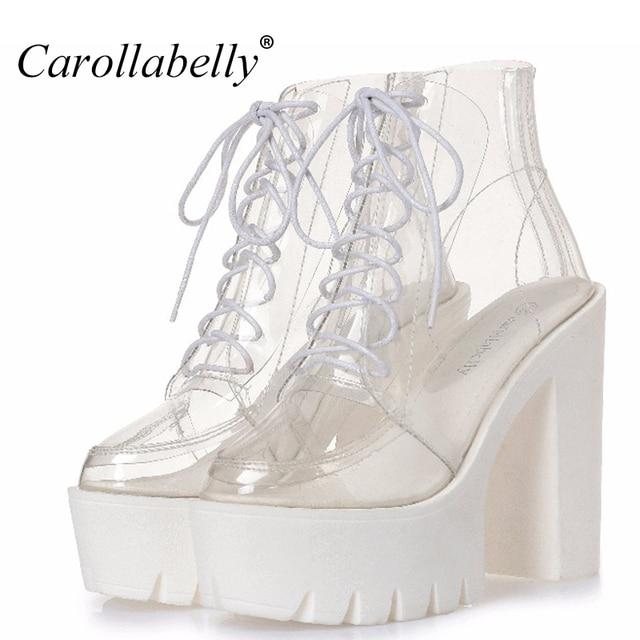 thick heels platform women autumn boots transparent ankle boots women lace up platform  high heels boots women shoes