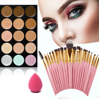 Hot New Comestic Makeup Tools Kit 15 Colors Face Cream Concealer Palette 20pcs Brush Powder Puff