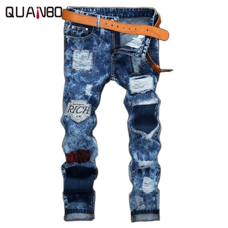 New Arrival 2018 Fashion Men Biker   Jeans   Distressed Slim Denim Pants Pleated Motorcycle Joggers Male Designer Cargo JeanTrousers