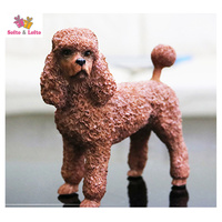 Artificial Resin French Brown Poodle Dog Figure Car Styling Home Room Decoration Collection Article Christmas Birthday