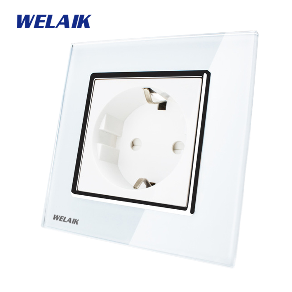 WELAIK Brand Manufacturer Glass Panel Wall Socket Wall Outlet White Black European Standard Power Socket AC110~250V A18EW/B rainbo brand free shipping wall power socket new outlet france standard crystal glass panel ac110 250v 16a wall socket a18fw b