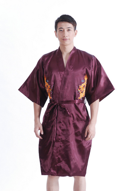 Burgundy Mens Bathrobe  Hotel robe Kimono gown sleepwear with Dragon YF1320