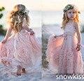 Новый довольно румяна розовый пят пляж тюль девушки цветка хорошая рукавов спинки boho рождения детей ну вечеринку пром платья