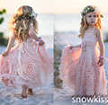 Nueva belleza blush pink tobillo longitud de la playa de flores de tul vestido de niña bonita sin mangas backless boho kids birthday party prom vestidos