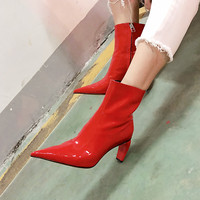 Patent Leather Women Boots Novel Thick Heels Sexy Pointy Toe Shoes Woman Zipper Dress Zapatos Mujer High Quality Short Booties