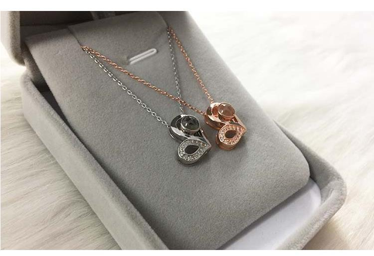 S925 sterling silver personality romantic love 100 languages I love you pendant necklace love key necklace lover gift in Pendants from Jewelry Accessories