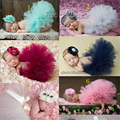 High quality newborn baby tutus Infant Layers Fluffy Ballet girls skirt with Chiffon Flower Headbands Kids Tulle Pettiskirt