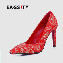 High quality fashion women red wedding evening  shoes pumps lady pumps