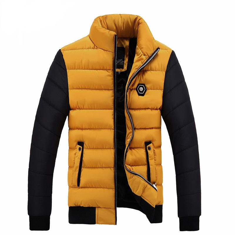 2017 New Winter Jacket Patchwork Men's Warm Cotton  Zipper Coat Slim Fit Fashion Outerwear Stand Collar Jackets 4XL YN10022