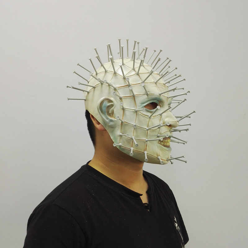 50 Pcs Halloween Mask Film Horor Hellraiser Menakutkan Pinhead Masker Meringis Rakasa Dewasa Cosplay Realistis Lateks Masker Pesta