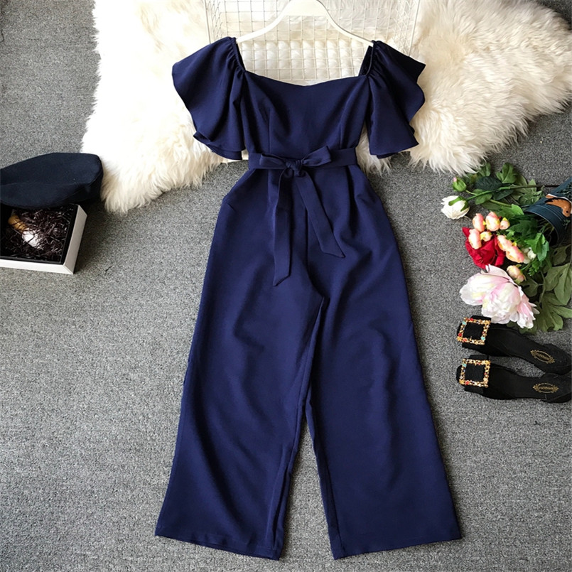 Fashion Solid Slim New Off Shoulder Jumpsuit Casual Sexy Women Bandage Playsuit Summer Long Full Length Overalls Vintage Romper 5