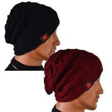 Мужчины женщины зима реверсивный теплые шапочки, Багги вязать шапки регулируемые пентаграмму вязание шляпу CC2608