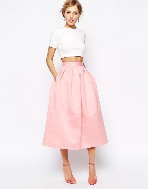 Moda Rosa Faldas De Raso Una Línea Chic Cremallera Invisible Cintura Plisada Mitad de la Pantorrilla Faldas de Alta Calidad Para Las Señoras