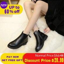 Liren 2019 Women Boots Black Tassel PU Leather Winter Warm Female Fashion Ankle Short For Low Heel Shoes