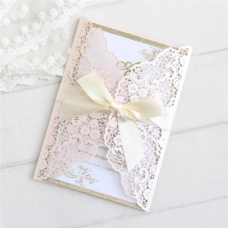 Flesh pink wedding invitations with glittery insert lace laser custom invite paper party decorations 50pcs