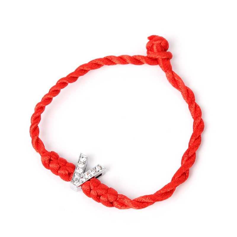 Браслеты 26 Английский алфавит T-Z ко Дню Святого Валентина счастливая веревка шнур буквы с кристаллами Красная Нить Парные браслеты для влюбленных