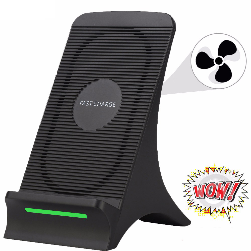Qi Wireless Charger Fan Fast Wireless Charging For Samsung Galaxy S10 S10 Plus Fast Wireless Charger