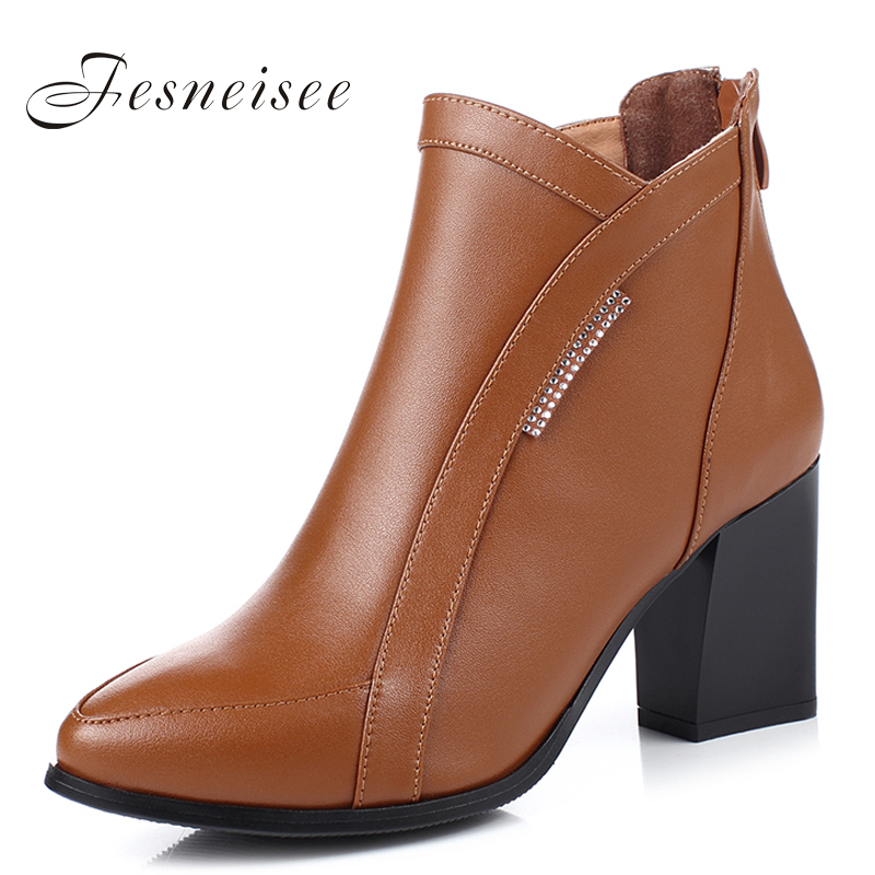 Winter Women Boots Square Height Heels Ankle Boots Women Shoes Fashion Rhinestones Martin Snow Boots Woman Footwear Size34-41M5 rizabina genuine leather boots rivet square heels autumn winter ankle boots sexy martin fur snow boots shoes woman size34 39