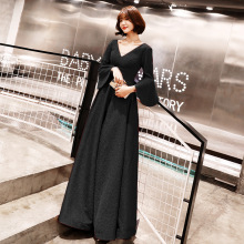 V-neck Evening Dresses Wine Red Flare Sleeve Vintage Formal Party Gowns Women Fashion A-line Long Floor-length Prom E089