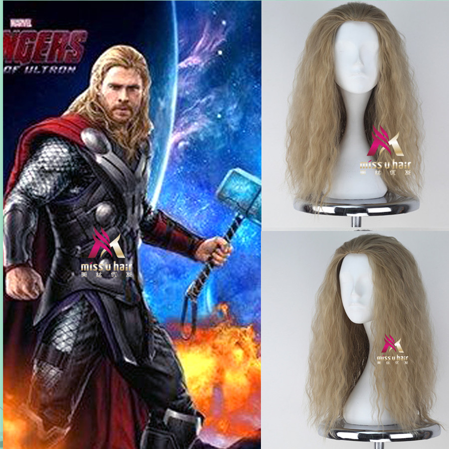 55cm/21.5 Mens Thor Cosplay Wig The Avengers blonde Curly Long hair wig Men Synthetic Hair costumes