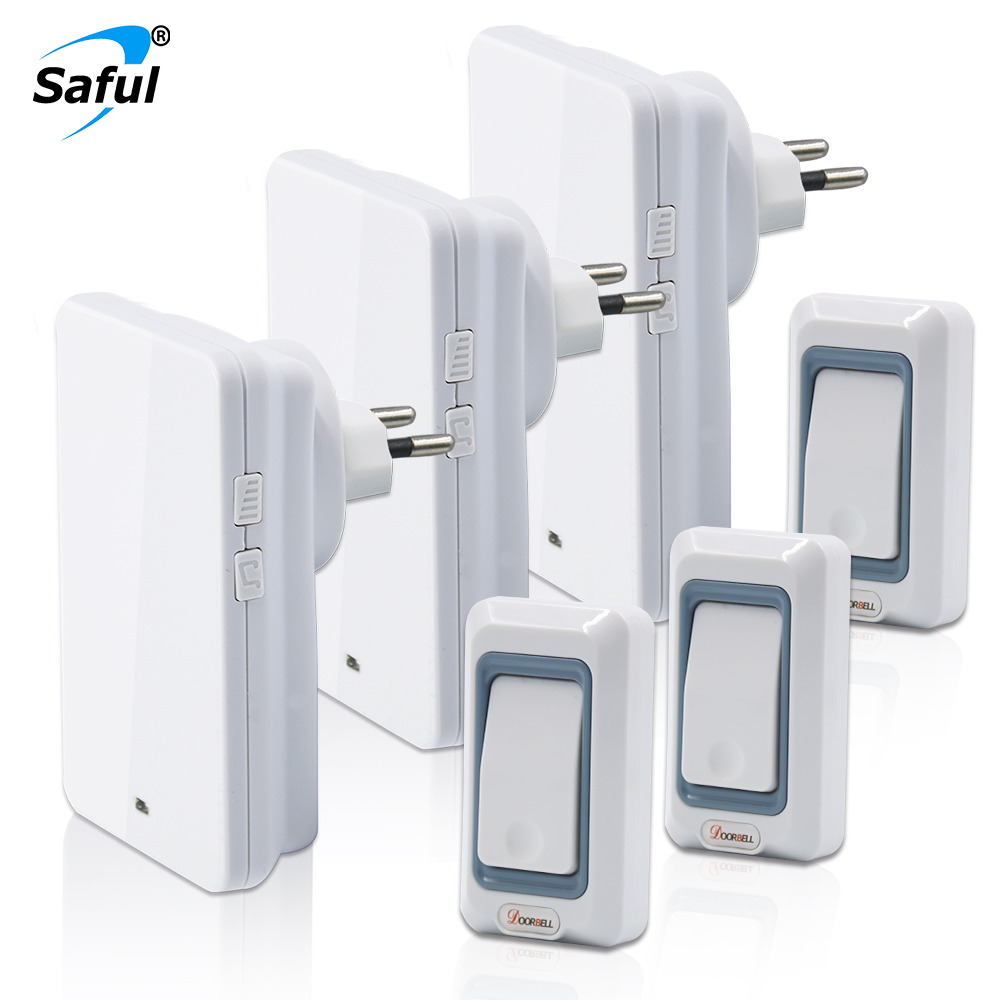 Saful EU/US/UK/AU Plug Waterproof Combination Wireless Doorbell Button 3 Out Transmitters +3 Doorbells Receiver